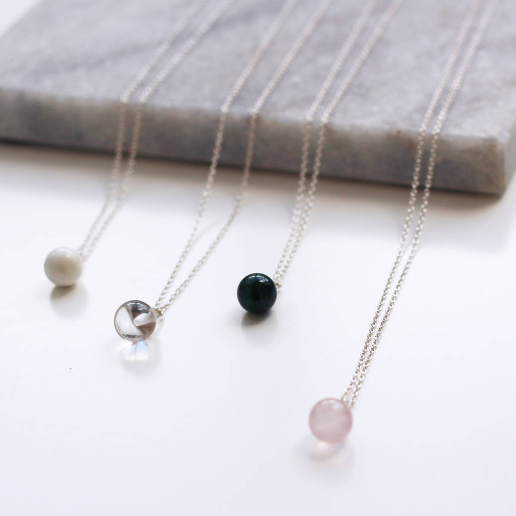 crystal clear ball pendant healing quartz necklace pin