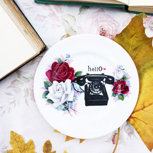 'Hello' Upcycled Vintage China Tea Plate