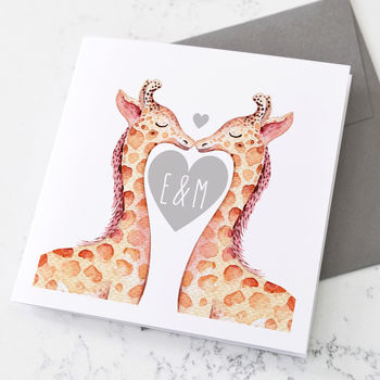 Personalised Giraffes Kissing Valentine's Day Card