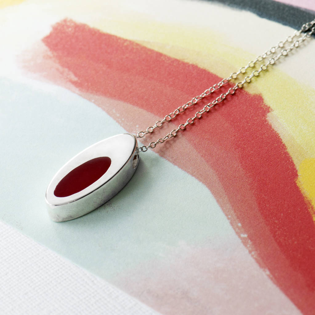 Silver Oval Pendant With Coloured Enamel Insert