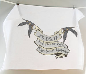 Personalised Bird Banner Cotton Tea Towel