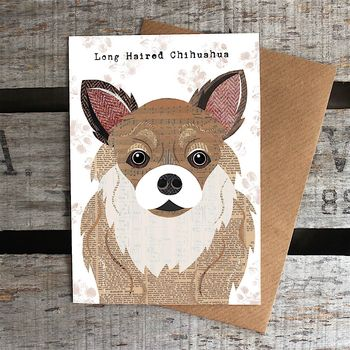 Long Haired Chihuahua Dog Card