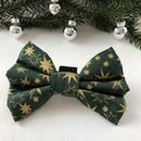 Green And Gold Star Christmas Dog Bow Tie