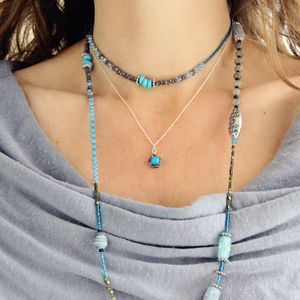 Turquoise And Diamond December Birthstone Necklace