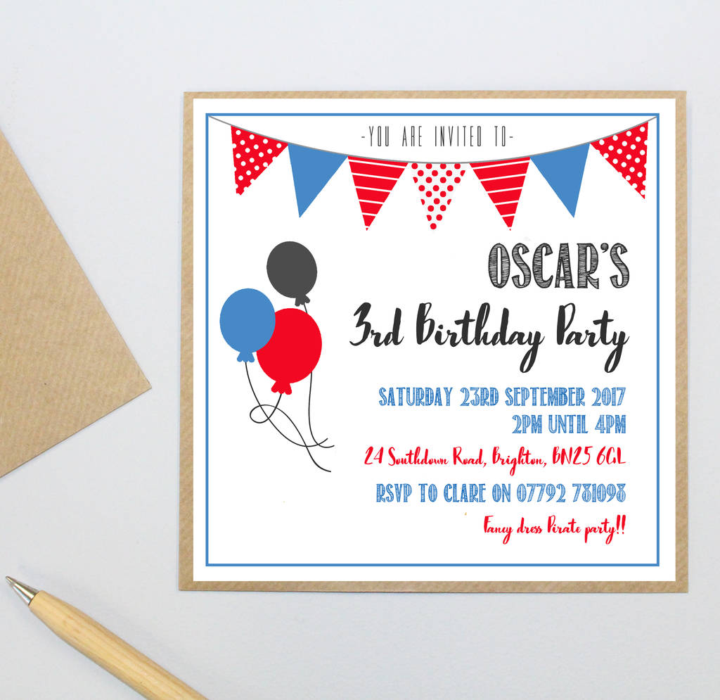 Personalised Childs Party Invitation