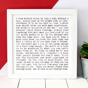 Book Lovers Gift; 'Books' Print
