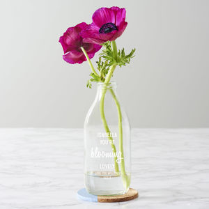 Personalised 'Blooming Lovely' Milk Bottle Vase - gifts for mothers
