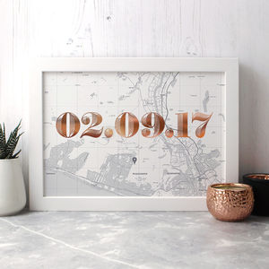 Personalised Map Print With Date In Copper Or Gold Foil - best wedding gifts