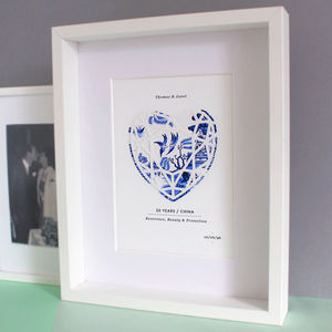 China 20 Years Anniversary Personalised Papercut Print