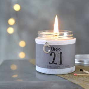 Personalised 21st Birthday Charm Candle - dining room