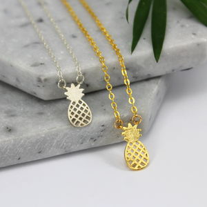 Sterling Silver And Gold Pineapple Charm Necklace