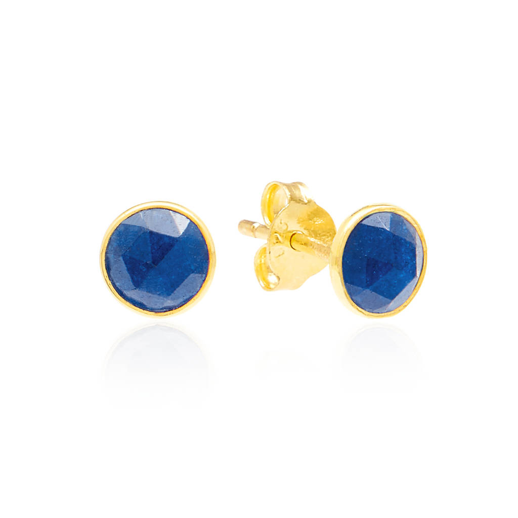 Blue Quartz Birthstone Earrings In Gold Vermeil