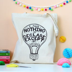 Oscar Wilde Quote Literary Typographic Tote Bag - bags & purses