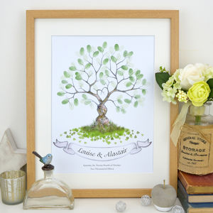Entwined Fingerprint Tree Guest Book - winter sale