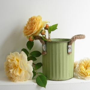 Green Painted Metal Pot With Rope Handles - what's new