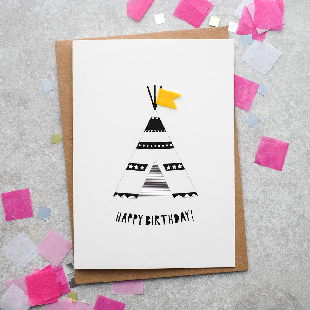 Childrens teepee birthday card with felt flag by hello geronimo childrens teepee birthday card with felt flag bookmarktalkfo Images