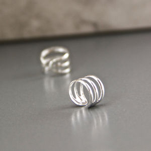 Sterling Silver Triple Row Ear Cuffs - earrings