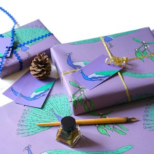Peacock Christmas Wrapping Paper Gift Set - cards & wrap
