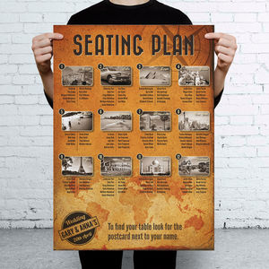Travel Vintage Themed Wedding Seating Table Plan - table decorations