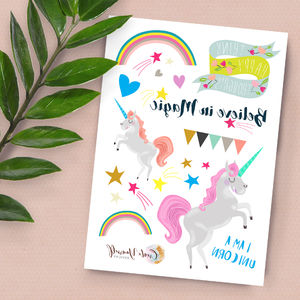 Unicorn Magic Themed Themed Temporary Tattoos - view all new