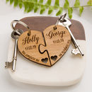 Personalised Jigsaw Heart Oak Keyring 'You Complete Me'