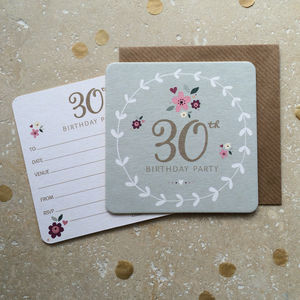 30th Birthday Party Coaster Invitations - adults party invitations