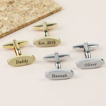 Personalised Brushed Oval Cufflinks