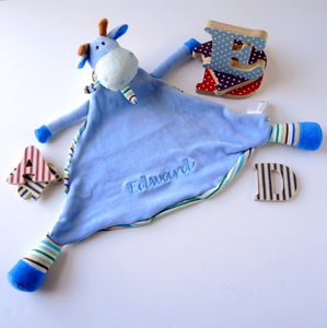 Personalised Blue Giraffe Soother - sleeping