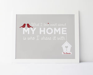 'What I Love Most About My Home' Family Print - posters & prints