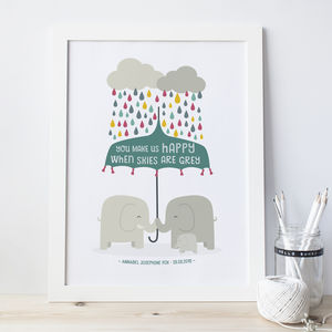 'You Make Us Happy' Elephant New Baby / Twins Print