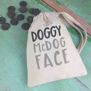 Personalised Doggy Mc Dog Face Bag With Treats