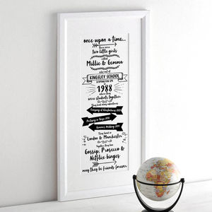 Personalised Story Of Our Friendship Print