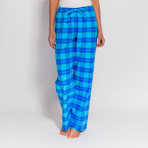 Women's Pyjama Trousers In Aqua Tartan Flannel
