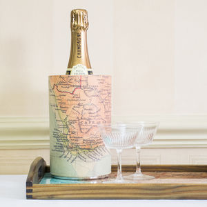 Personalised Map Leather Wine Cooler - travel inspired wedding gifts