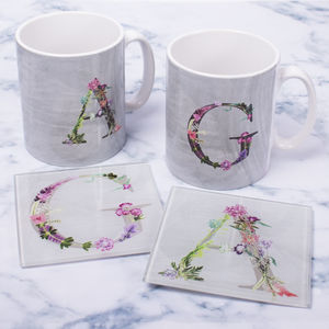 Personalised Floral Letter Mug And Coaster Set - personalised