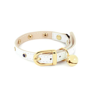 White Leather Cat Collar With Multicoloured Crystals - cats