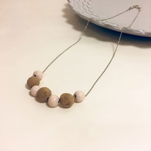 Blush Cork And Wood Necklace