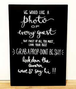 'Grab A Prop' Wedding Chalkboard - room decorations