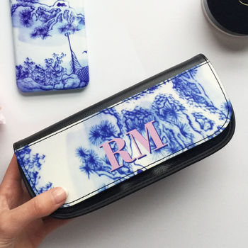 Antique Blue And White Print Monogram Make Up Bag