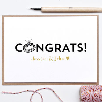 Personalised Congrats Engagement Card With Diamante