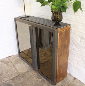 Fiona Asymmetric Mirrored Door Reclaimed Wood Hall Unit - living room