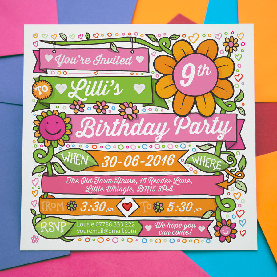 childrens party invitations personalised flower design by a is for ...
