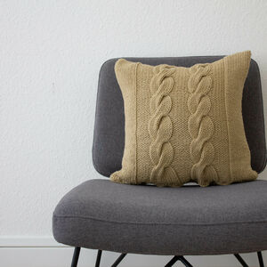Hand Knit Chunky Cable Cushion In Stone