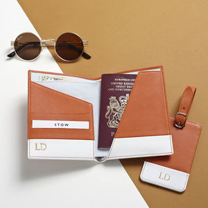 Passport Wallet And Luggage Tag Travel Gift Set - men's accessories