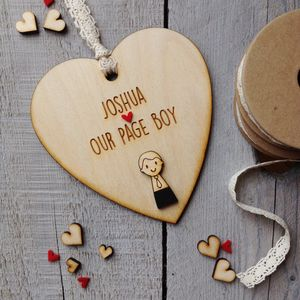 Personalised Page Boy Or Usher Heart - wedding thank you gifts
