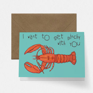 Pinchy Lobster Love Valentines Card - valentine's cards
