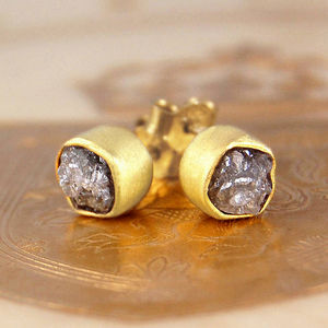 18k Rough April Diamond Vermeil Stud Earrings