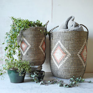 Woven Pattern Seagrass Storage Basket With Handles - storage & organisers