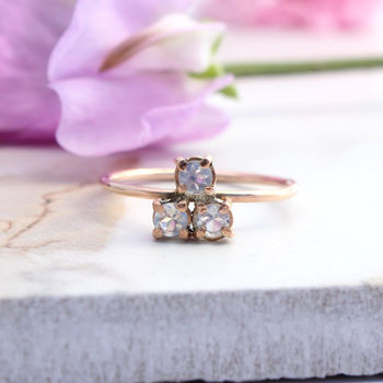 Tai, 9ct Rose Gold Trio Moonstone Ring
