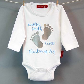Personalised Christening Babygrow Or T Shirt